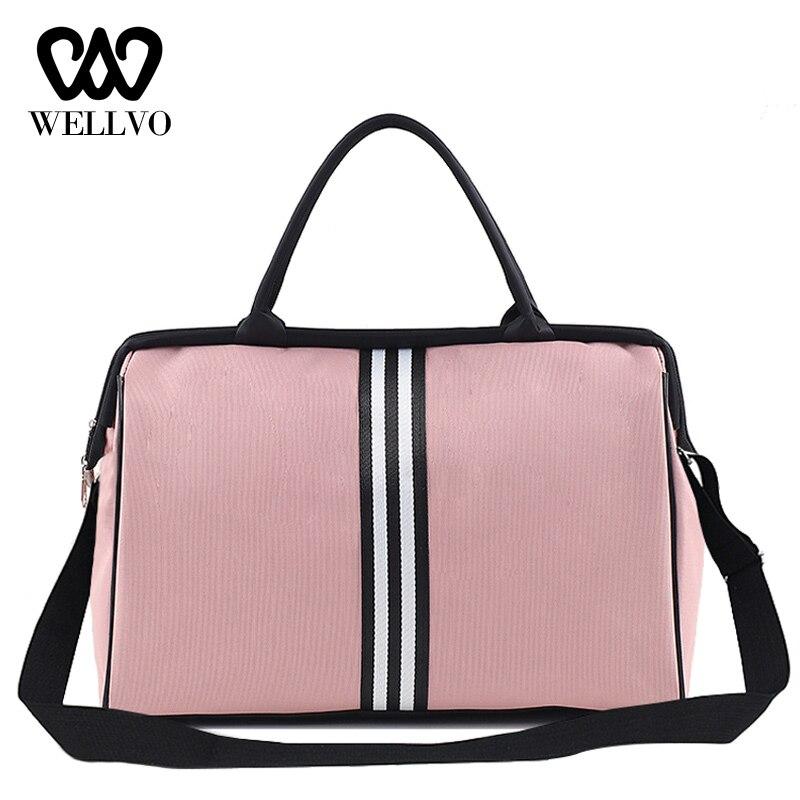 Portable Travel Bag Female Big Luggage Duffel Bag Men Weekend Bags Nylon Overnight Striped Women Handbags Bolsas Viaje XA637B