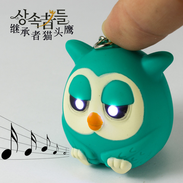 Cute owls LED keychains with sound glowing pendant keychais,creative gifts child