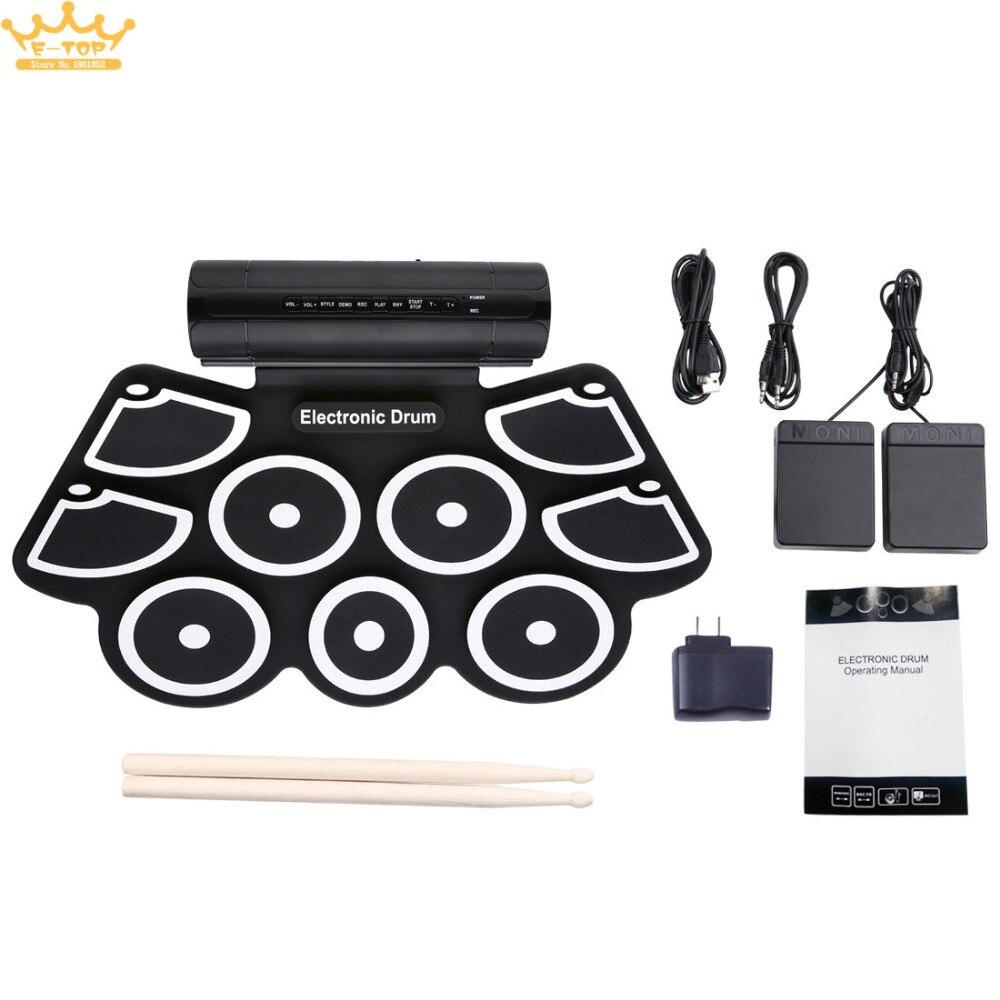 Портативный Roll Up Электронные Ударные установки комплект 9 кремния колодки Встроенные динамики Поддержка USB MIDI голени педали ...