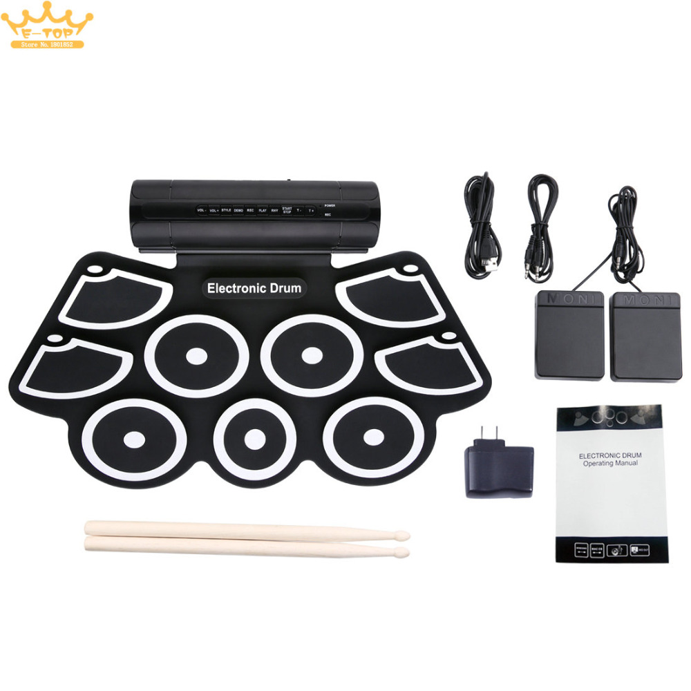 Portable Roll Up Electronic Drum Set 9 Silicon Pads Built-in Speakers Support USB MIDI Drumsticks Foot Pedals support usb midi colorful portable roll up electronic drum set 9 silicon pads built in speakers with drumsticks foot pedals