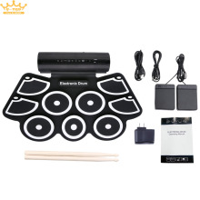 Portable Roll Up Electronic Drum Set 9 Silicon Pads Built-in Speakers Support USB MIDI Drumsticks Foot Pedals