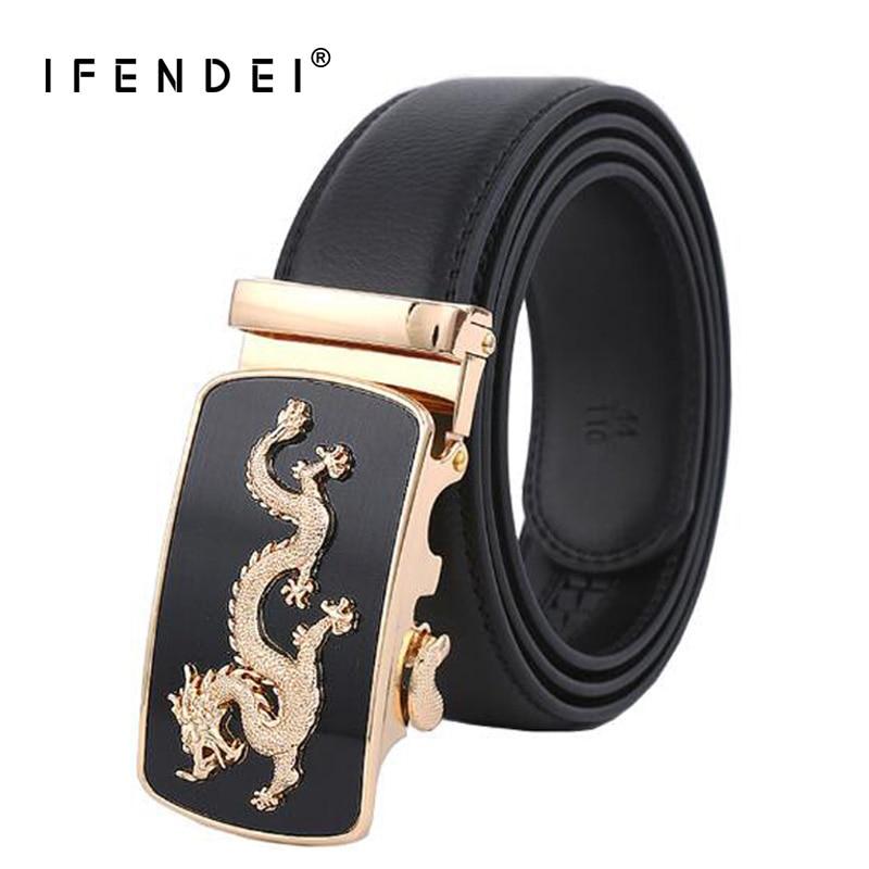 IFENDEI Luxury Designer Belts Men High Quality Genuine Leather Men's Belt Fashion Auto Dragon Buckle Strap Casual Belt Waist New