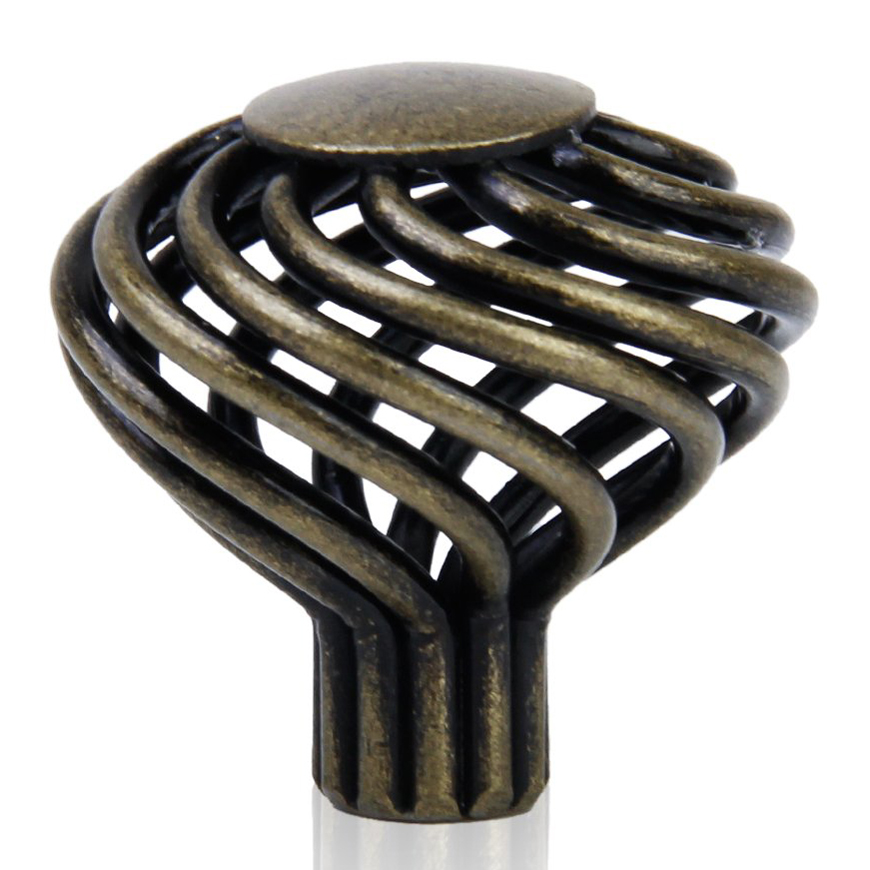 WSFS Hot Sale 8 x Spiral Cage Kitchen Cabinet Handles Knobs 34mm--Antique brass hot sale cayler