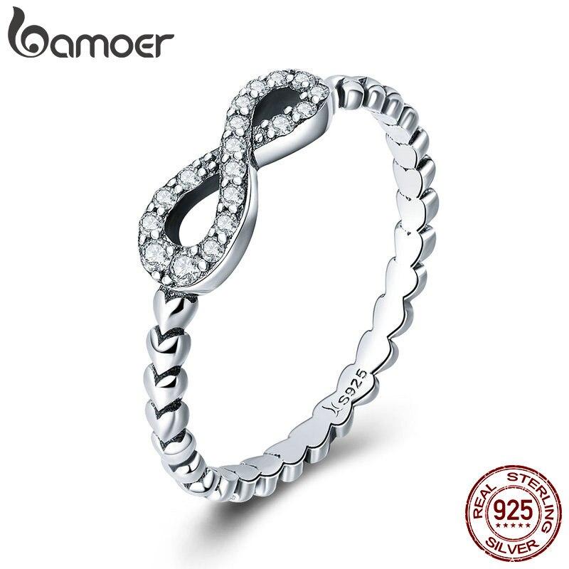 BAMOER Romantic 925 Sterling Silver Infinity Love Forever Heart Clear CZ Finger Ring