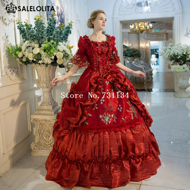 79011f2b3ca3 New Arrival Red Rococo Baroque Marie Antoinette Ball Gown Dress 18th Century  Renaissance Historical Period Dress For Women