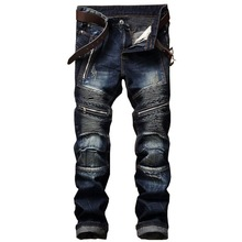 Fashion Streetwear jeans men Slim-fit straight zip pleated mens washed trousers