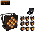 10XLOT Wireless DMX Led Flat Par Light 9 x 15W RGBWA 5IN1 Color Mixing Non Waterproof IP20 No Battery Flightcase 10IN1 Packing