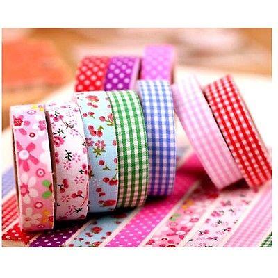 4 m 15mm Masking Tape Sticker Cartoon Diary Farbic Tape Adhesiva Decor Floral Plaid Print Tape DIY Decorative Adhesive Tape