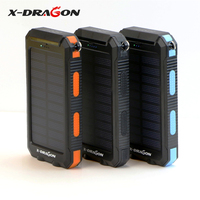 X-DRAGON Solar Panel Charger 10000mAh Solar Panel Power Bank with Compass Hook Flashlight for Camping Hiking Climbing Outdoors.