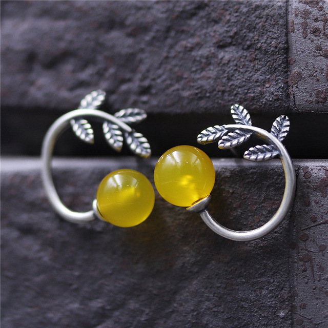 S925 Sterling Silver Earrings Ethnic Style Small Yellow Stone Leaves Stud Earring Olive Branch Earing For
