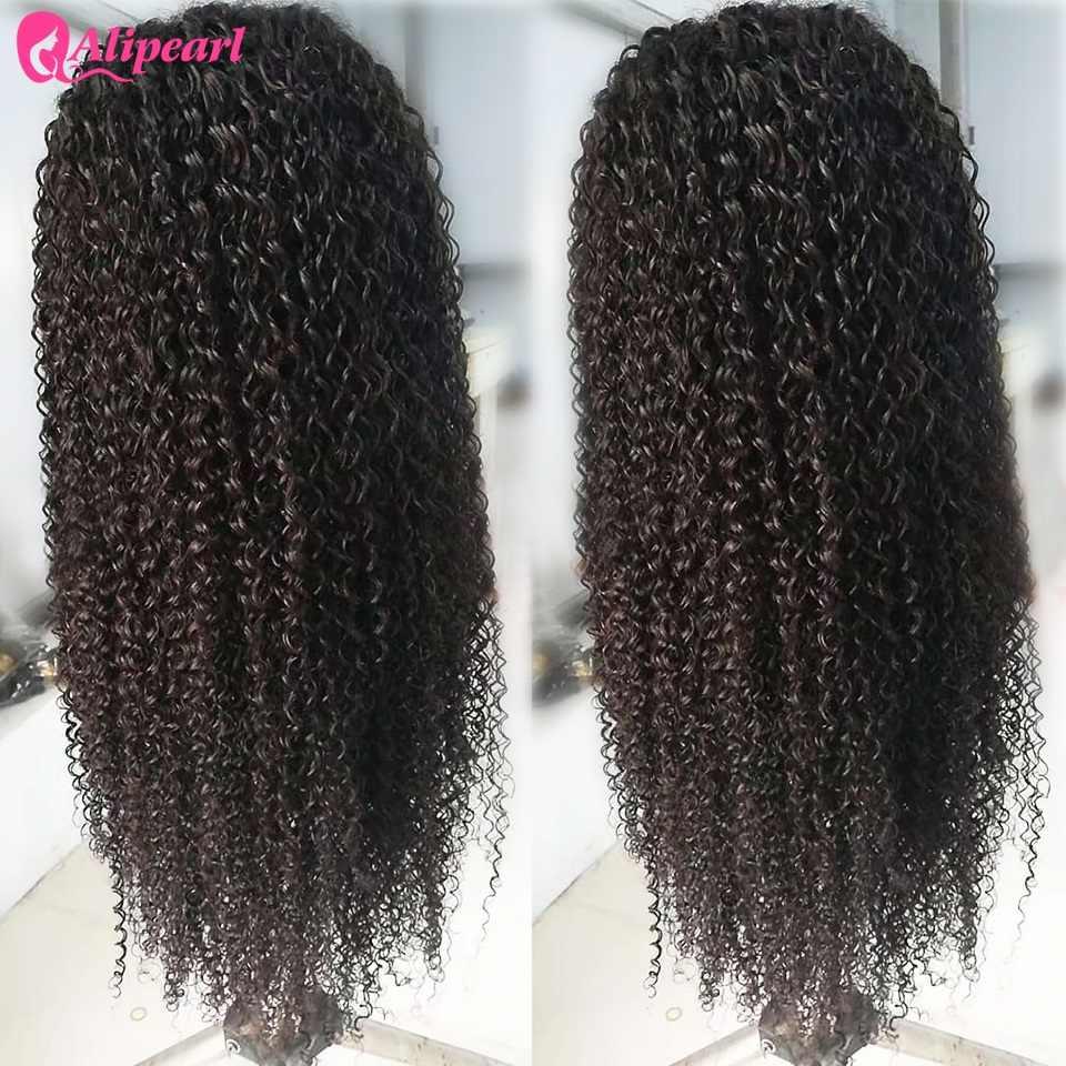Вьющиеся Синтетические волосы на кружеве человеческих волос парики для чернокожих Для женщин предварительно 130 150 180 250 плотность бразильские виргинские волосы парики волосы alipearl парик