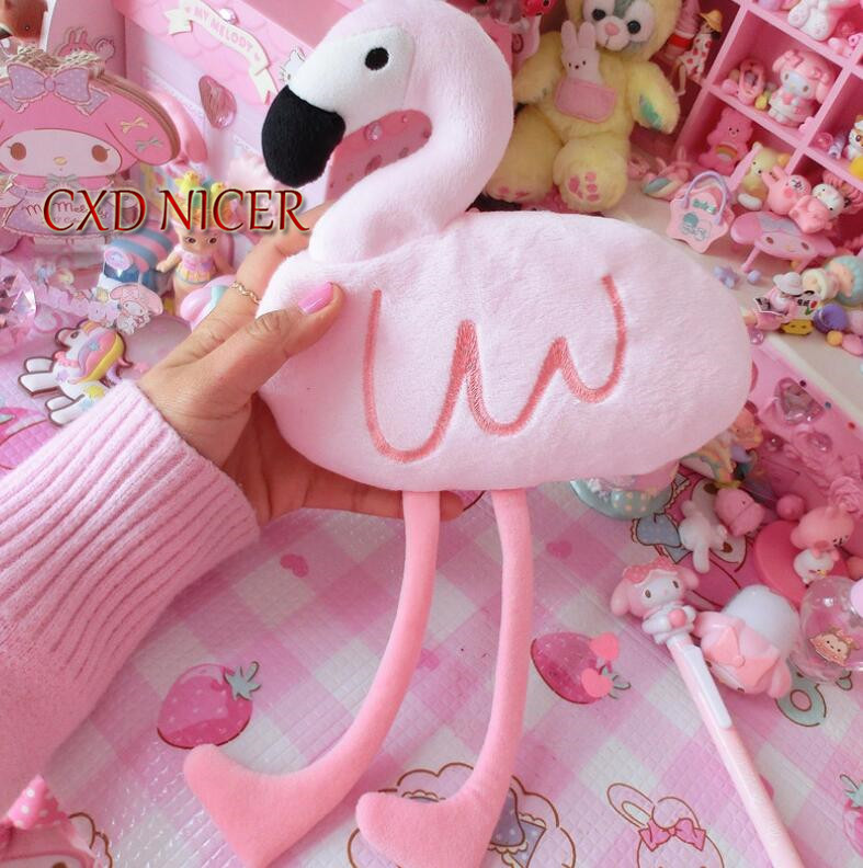 все цены на Pink Plush Pencil Case For School Office Supplies Long Legs Flamingo Pencil Bag Canvas Pen Bags School Case Pencil Pouch DD2518