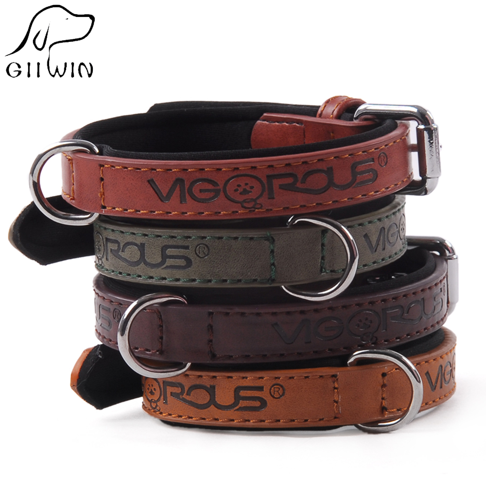 PU Leather Dog Collar Pet Neck Collars for Small Large Dogs Cats Puppy Collar Adjustable Solid Dog-Collar Pet Products YS0073