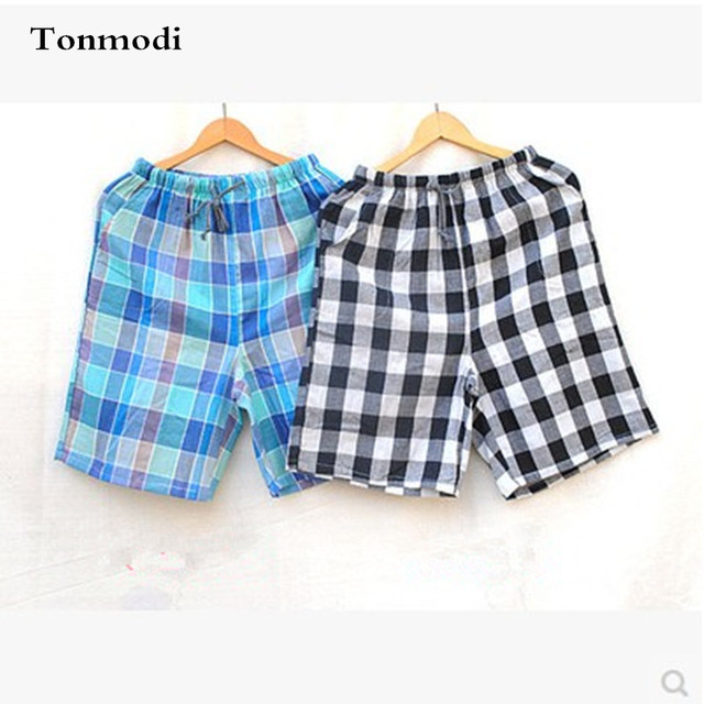 nightshirt Men cotton plaid shorts double layer gauze Beach Shorts lounge  pajama pants shorts sleepwear cbc01aa9b
