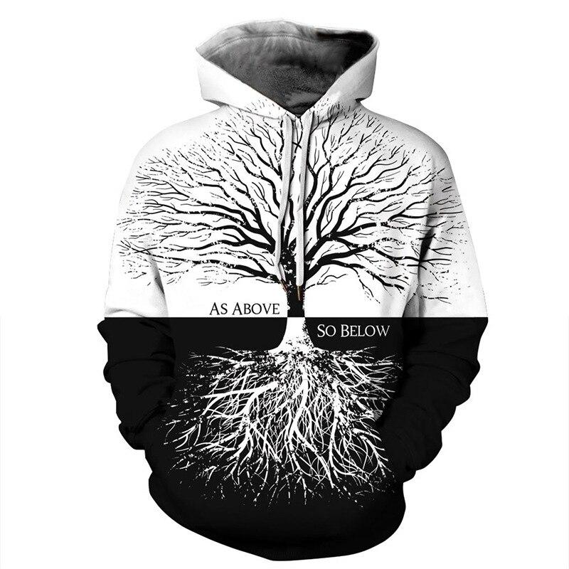 Vintage Tree Flower Print Hoodies Men Hoodie with Hat Round Neck Loose Sweatshirt Pullover Sudaderas Para Hombre Streetwear