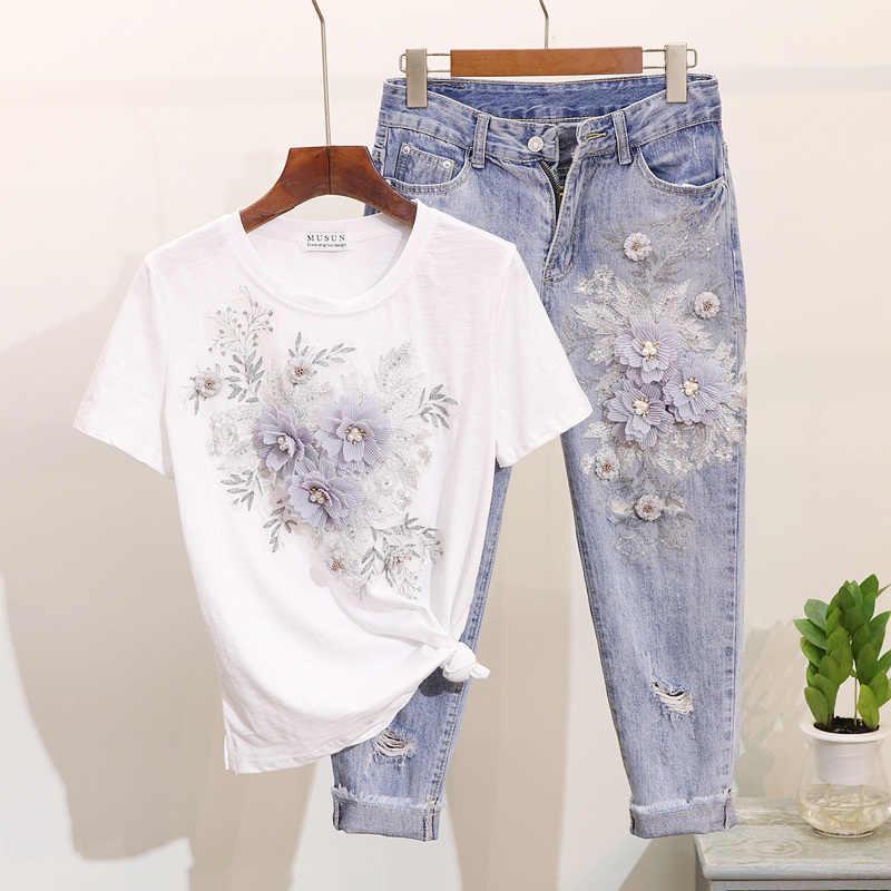 Amolapha ผู้หญิงลูกปัด 3D ดอกไม้ผ้าฝ้ายเสื้อยืด + ลูกวัวความยาวกางเกงยีนส์ชุดเสื้อผ้าฤดูร้อนกลางลูกวัว Jean ชุด