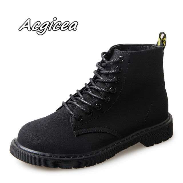 9f770a087f6 2018 winter new black fashion wild casual boots high boots Women's simple  and comfortable flat Lace-Up short boots w04