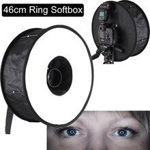 "Universal 18 ""46cm fácil dobrar anel flash softbox difusor refletor para macro atirar para canon nikon sony yongnuo godox speedlite"