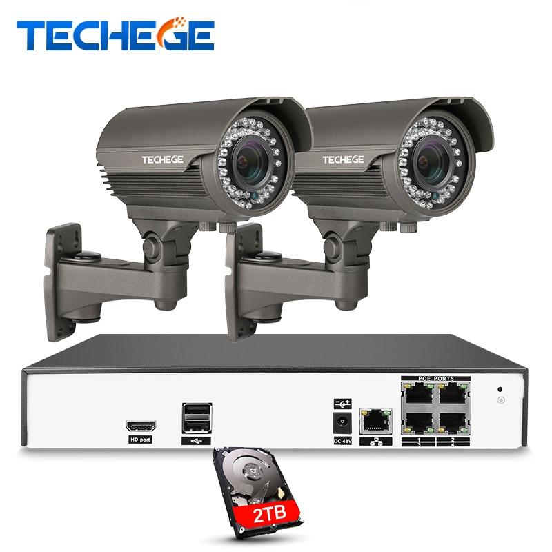 Techege 4CH видео Системы H.265 4 К PoE NVR 2048*1536 2.8-12 мм объектив Ручной 4MP IP камера Ночное видение POE Системы CCTV Системы