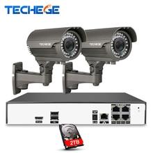 Techege 4CH Video System H.265 4K PoE NVR 2048*1536 2.8-12mm manual lens 4MP IP Camera Night Vision POE System CCTV System