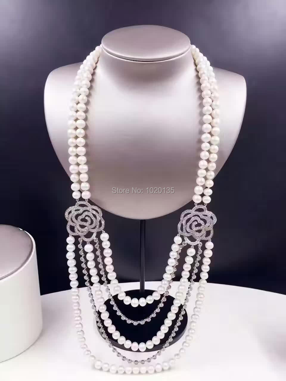 3rows 8-9mm near round white freshwater pearl necklace amazing gift hot FPPJ3rows 8-9mm near round white freshwater pearl necklace amazing gift hot FPPJ
