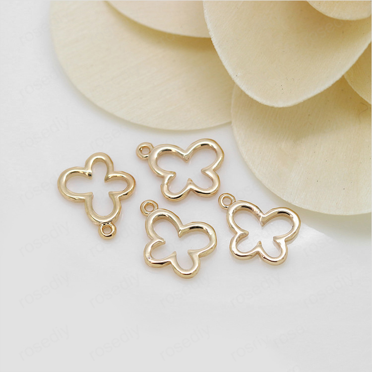 6PCS 7x10MM 24K Champagne Gold Color Plated Brass Butterfly Charms Pendants High Quality Diy Jewelry Accessories