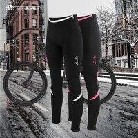 Santic Women Cycling Fleece Padded Pants Winter 4D Cushion Pad Reflective Bike Thermal Pants Cycling Pants