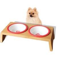 Pet Dog Bowl Cat Bowl Dish Bamboo Frame Ceramic Feeding and Water Bowls Dual use Double bowl Pet Supplies