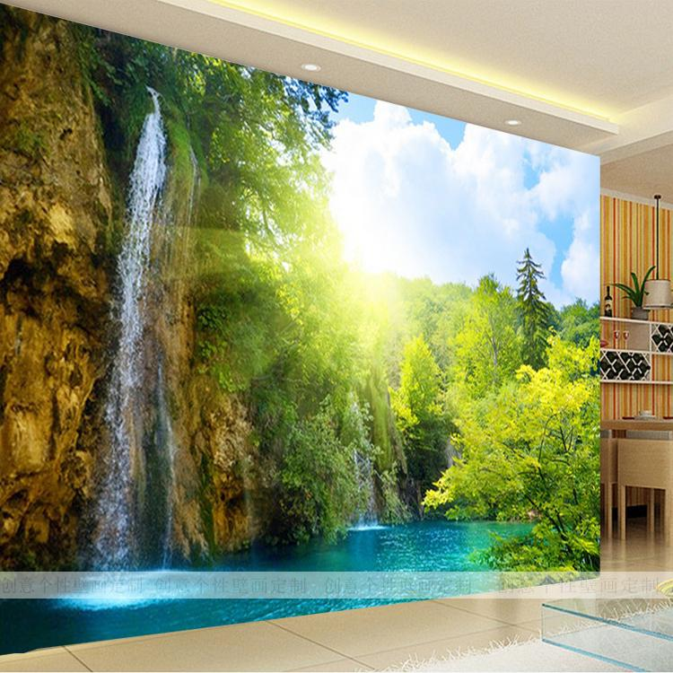 Free Shipping Natural Scenic Waterfall Tree Wallpaper 3d