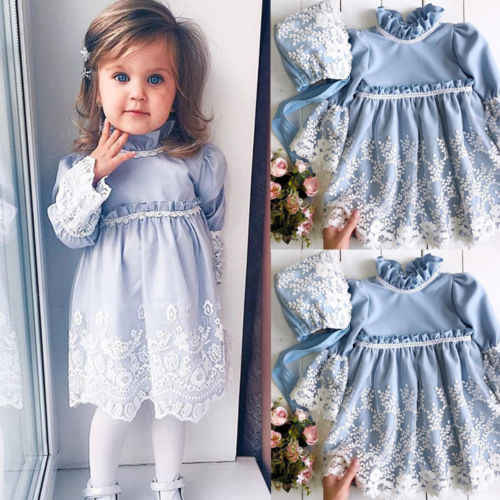 2018 New Princess Girl Blue Lace Dress Kid Baby Girls Lace Floral Long Sleeve Party Wedding Dress+Hat Children Fashion Clothes