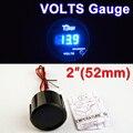 """2 """"52mm VOLTS Calibre Carro Medidor de Tensão LED Azul Casca Preta Display Digital Calibres Automotivo 12 V Veículo FRETE GRÁTIS"""