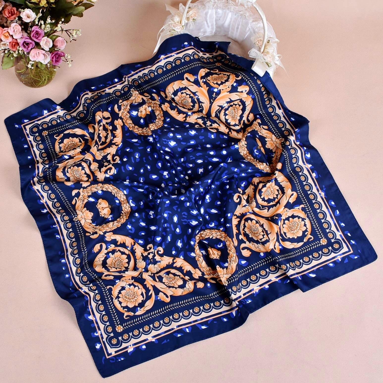 Fashion Women   Scarf   Luxury Brand Striped Dots Print Hijab Pure Silk Shawl Scarfs Foulard Square Head   Scarves     Wraps   2019 NEW