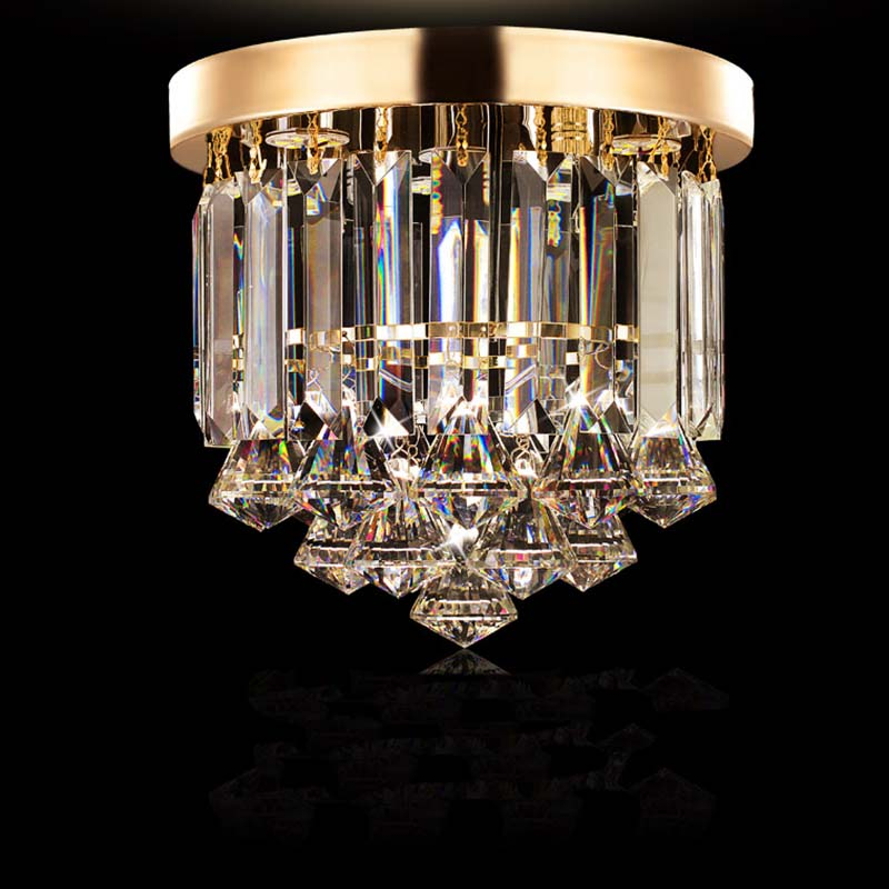Pendant light FREE led Bulb K9 Crystal Champagne OR Clear Crystal Stainless steel Round design for Foyer bar hotel coffe shop