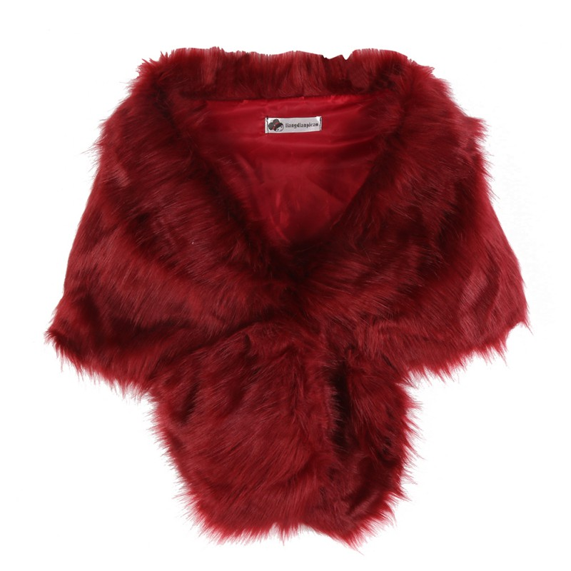 Women Faux Fox Fur Coats Jackets Bridal Wedding Faux Fur Shawl Wrap Shrug Scarf New arrival