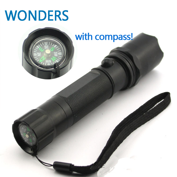 High quality! LED Waterproof Torch Strong Lumens Flashlight with belt compass camping hiking Light
