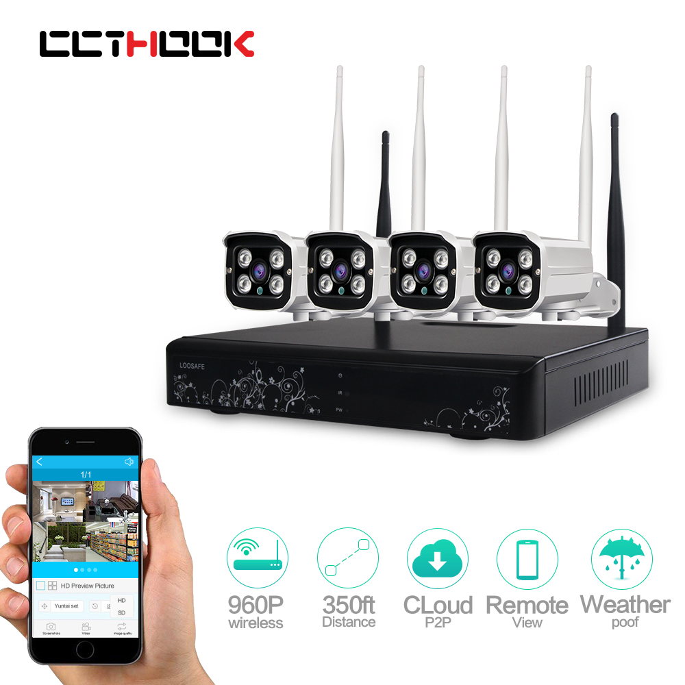 Plug and Play 4CH 960P HD Wireless security cameras for home P2P Indoor Outdoor IR Night Vision Security IP Camera WIFI CCTV Set enklov 960p cctv camera hd ip camera wi fi wireless home security camera plug and play ptz p2p night version indoor camera