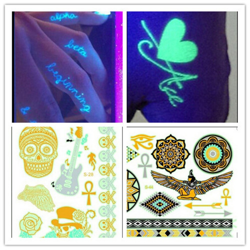 Fluorescent temporary tattoos 1