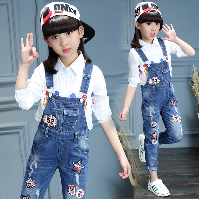 Spring Autumn 2018 Toddler Girls Denim Overalls For Girls Jumpsuits Romper Trousers Kids Baby Cotton Dungarees Jeans Holes 4 17 T by Ali Express