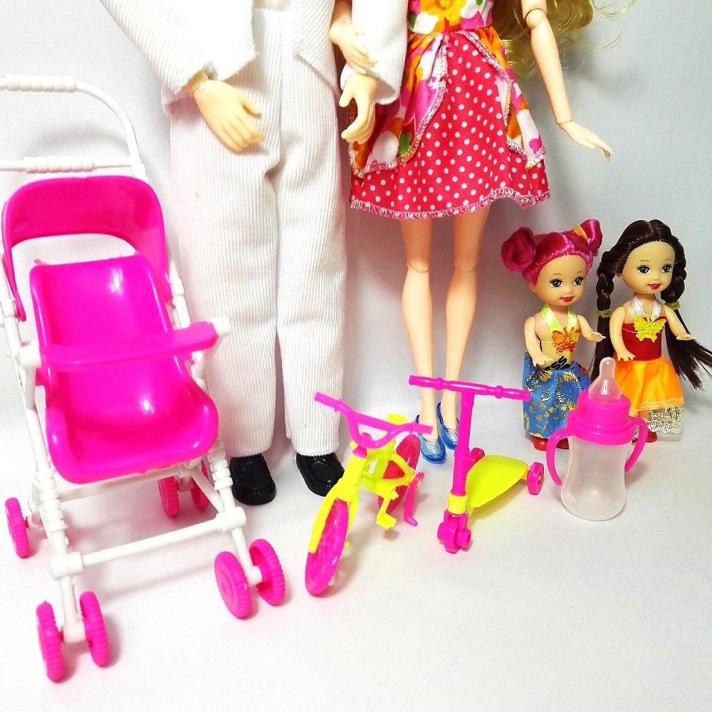 Mainan Fesyen Keluarga 4 Orang Dolls Suit 1 Ibu / 1 Ayah / 2 Little - Anak patung dan aksesori - Foto 5