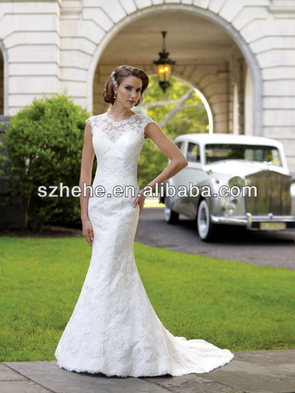 Buy hw039 boat neck mermaid lace cap for Boat neck lace wedding dress