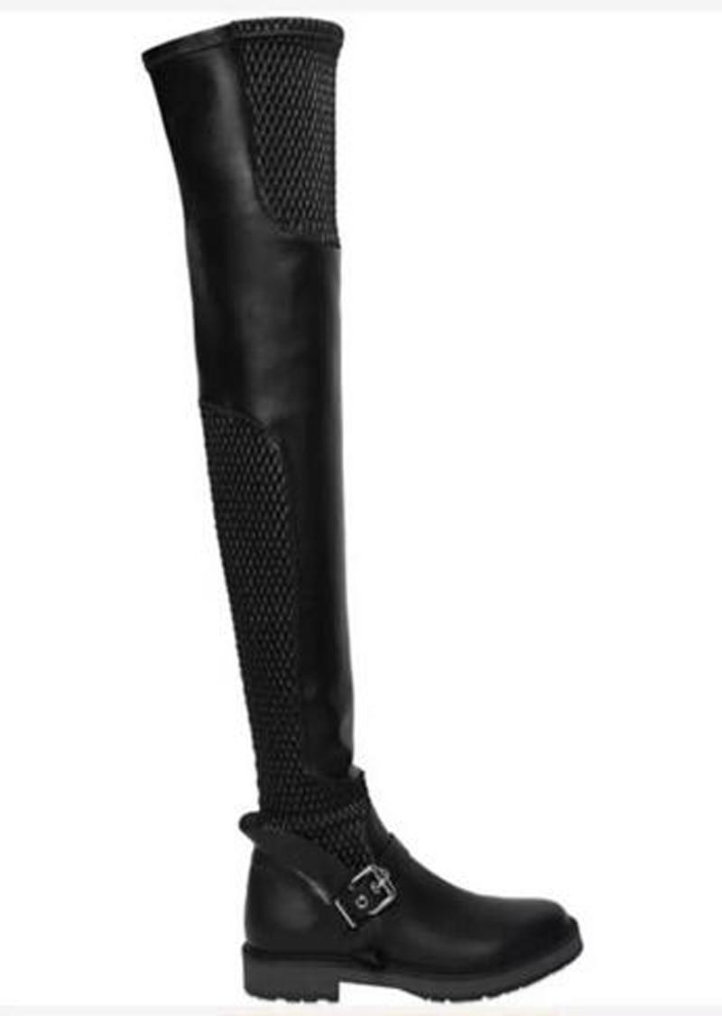 Chaud Maille Plat Respirant Longue Conception Cuir Femmes Cuisse Rond Genou Bottes Hiver Boucle Moto Noir En Sur Vente Bout AvZAdq