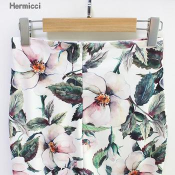 Hermicci 2018 Summer Style Pencil Skirt Women High Waist Green Skirts Vintage Elegant Bodycon Floral Print Midi Skirt 4