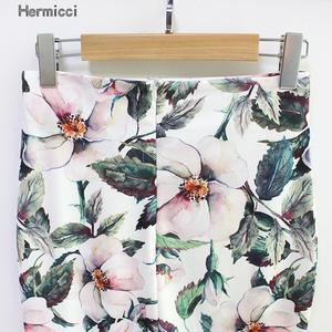 Image 4 - Hermicci falda de estilo veraniego para mujer, faldas de estilo veraniego, de cintura alta, en color verde, con estampado Floral, Estilo Vintage, ceñida, Midi, 2018