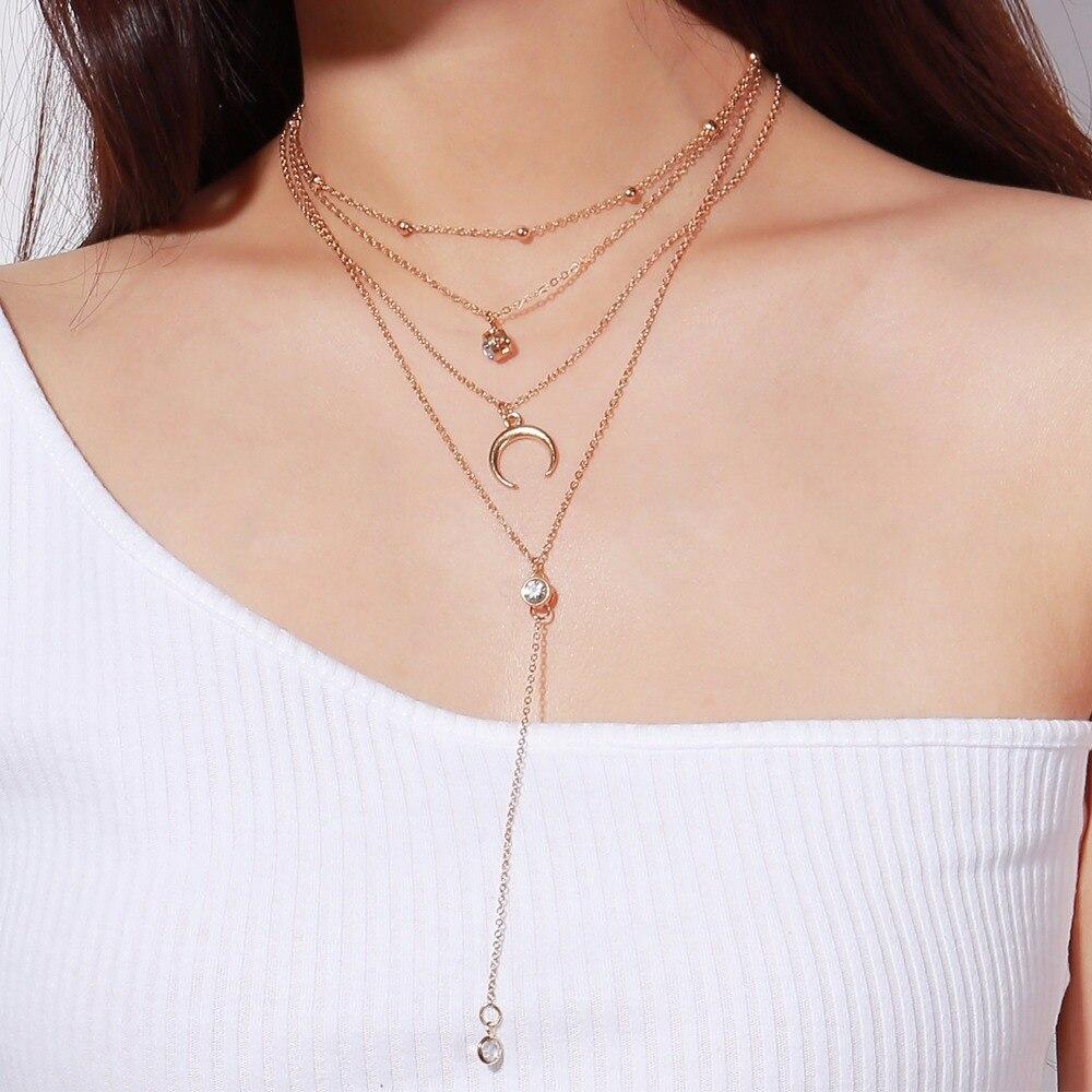 Joyas de cristal de boda Oro Gargantilla Collar Colgante de Estrella multicapa cadena de cuentas