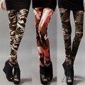 Senhoras Estilo Graffiti Legging Stretch Leggings Calças Slim Calças de Camuflagem Do Exército de Fitness Legging Finas calças de Cintura Alta 8913