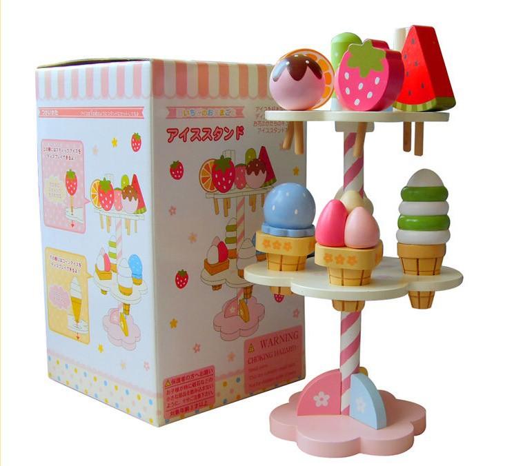 Mère jardin bois fraise glace gâteau enfants fille maison de jeu jouet jeu enfant en bois cuisine jouets