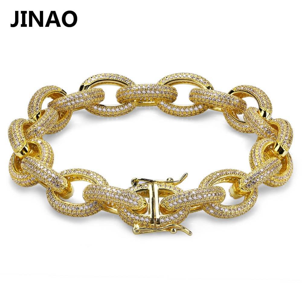 JINAO 12 MM Hip Hop Iced Out Hommes Bracelets Or Argent AAA cubique Zircon De Cuivre Lourd Matériel Tordu et Ovale Lien Bracelet 7