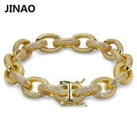 JINAO 12MM Hip Hop Iced Out Men Bracelets Gold Silver AAA Cubic Zircon Heavy Copper Material Twisted and Oval Link Bracelet 78
