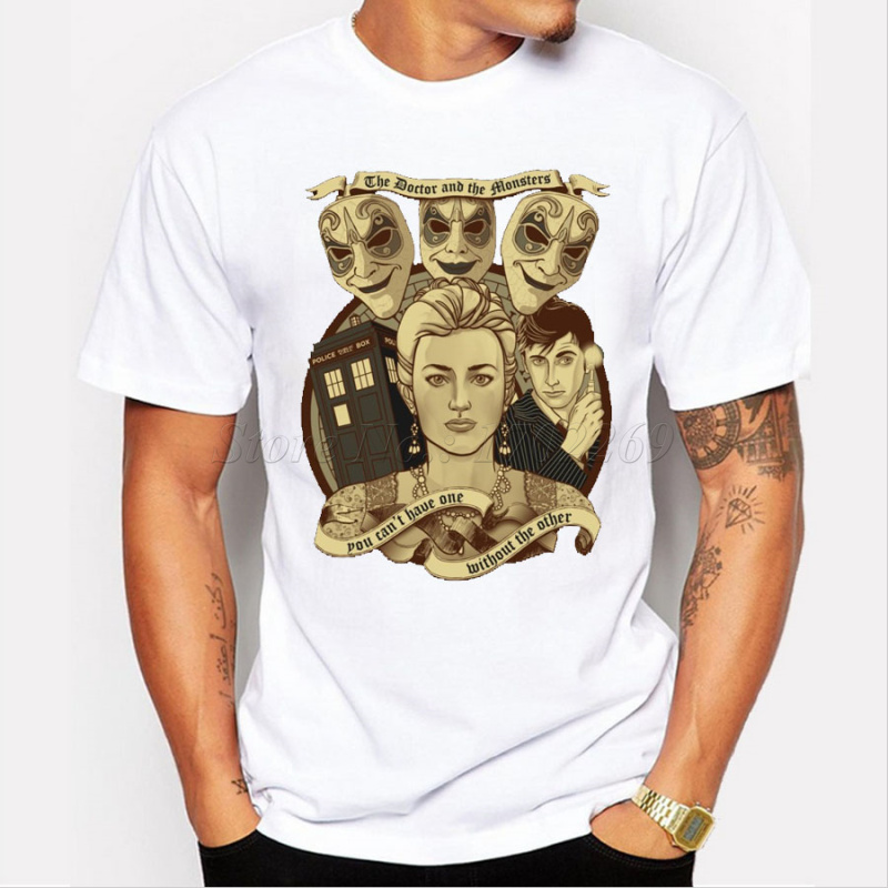 New arrivals doctor who cartoon charactor retro printed men t-shirt vintage DR WHO novelty tops short sleeve casual hipster tee