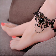 2017 Fashion ankle bracelets for women fashion Black Lace Pendant Gothic Body Belt Gift Chain foot fine anklets jewelry